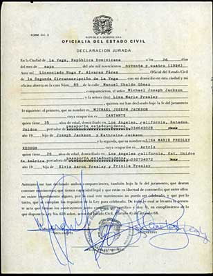 Original marriage license issued to Michael Jackson and Lisa Marie Presley in 1994