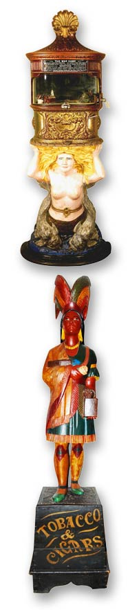 Mermaid Arcade Game and Cigar Store Indian
