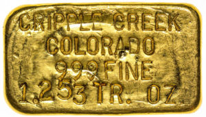 Cripple Creek gold ingot from a major collection of gold nuggets and specimens.