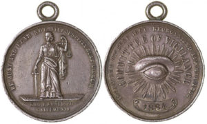 Very rare 1856 San Francisco Committee of Vigilance silver medal
